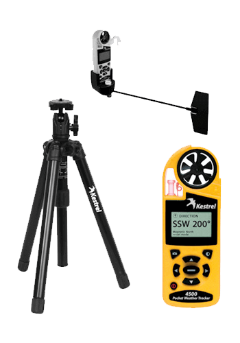 Kestrel 4500 weather station with tripod and vane mount